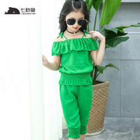 Kids Clothes 2018 Toddler Girls Summer Clothing Girl Clothes Set Yellow Green Girls Outfits 5 6