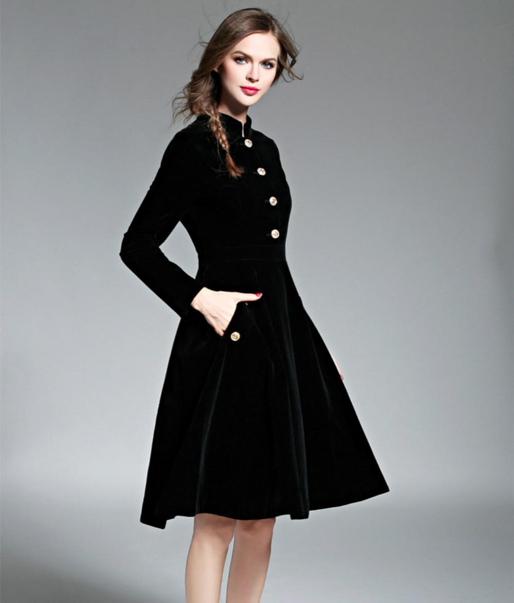 Stand Mi Qualité Luxe Boutons Printemps Noir Longue Cou Haute Vintage Manches ligne A De Femmes Robe Robes Femelle Velours Plein 2018 wIaq1xSq