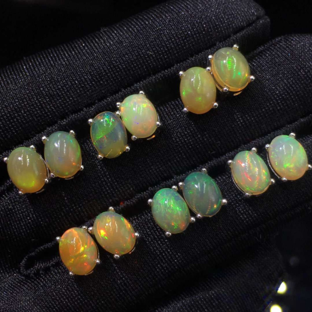 Women s beautiful Nature Fire Opal Earrings Jewelry 925 Sterling Silver Oval Shaped 6X8MM Ear Studs