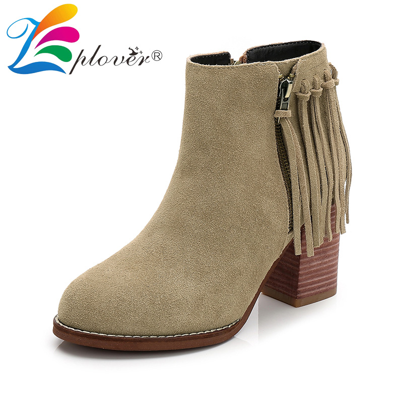 цена на Ankle Boots For Women Cow Leather Winter Boots Fur Shoes Woman Botas Fashion Fringe High Heels Zapatos Mujer Warm Martens Bota