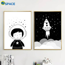 Cartoon Child Rocket Canvas Painting Wall Art Canvas Posters And Prints Nordic Poster Black White Wall Pictures Kids Room Decor black white cartoon planet quote wall art print canvas painting nordic canvas poster and prints wall pictures kids room decor