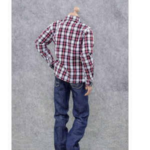 Image 4 - 1/6 Scale ชายเสื้อผ้าสำหรับรูปแอ็คชันขนาด 12 นิ้วสีแดงแขนยาวลายสก๊อตเสื้อกางเกงยีนส์ชุดตุ๊กตาสบายๆชุดเย็นชุดเสื้อผ้า