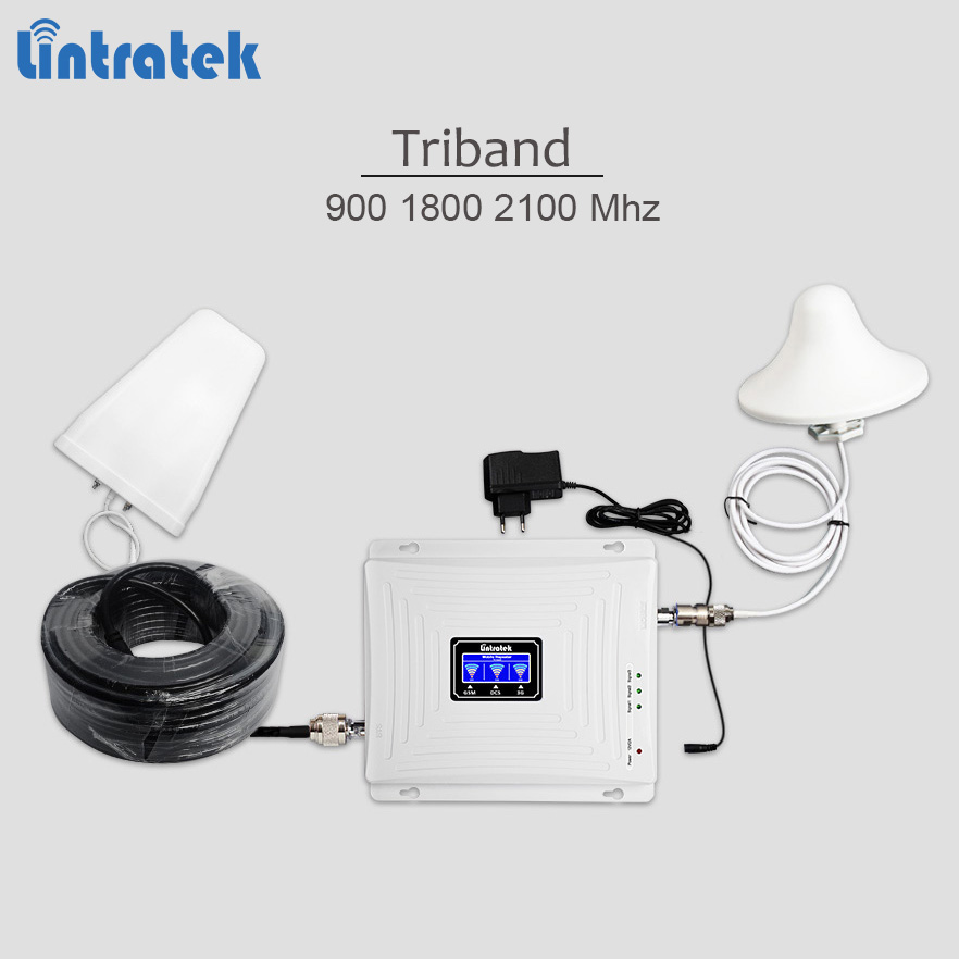 Lintratek new tri-band repeater 900 1800 2100 2G 3G 4G signal repeater gsm umts lte cellphone signal amplifier full kit #7