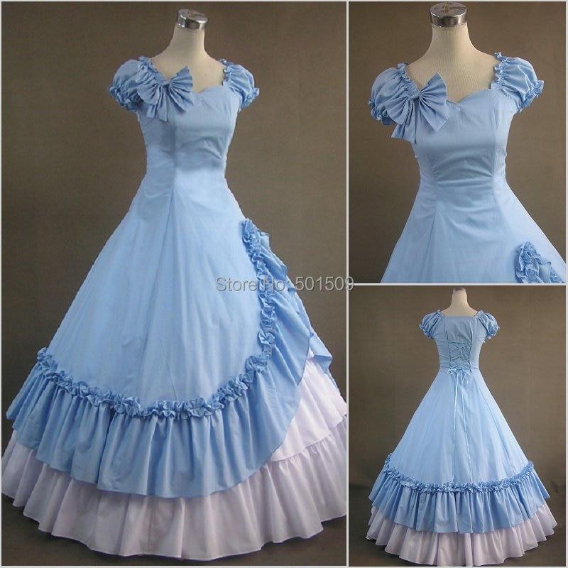 light blue ruffle bowknot lolita ball gown adults Medieval dress ...