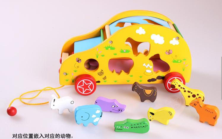 Animal trailer shape box child shape digital baby educational toys 1 - 2 - 3