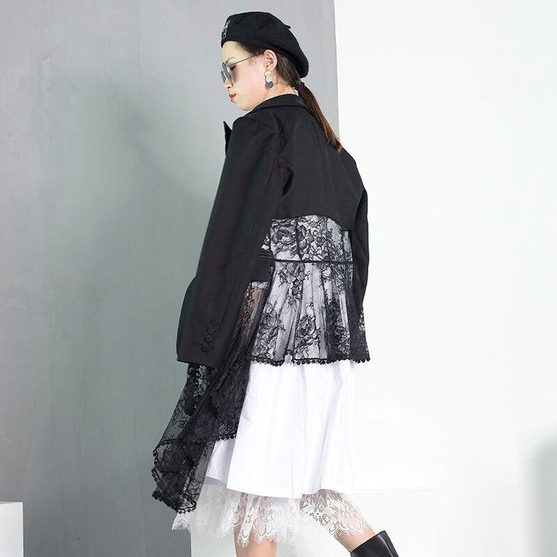 Longues V 2019 Printemps Dentelle Manches Oa1 Manteau Patchwork Unique Formelle Black Bouton cou eam À Noir Asymétrique Personnalité Femmes 1XxWdz