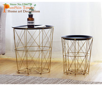 Nordic minimalist style INS metal gold storage basket,with lid storage basket dirty clothes basket,small tea side round table