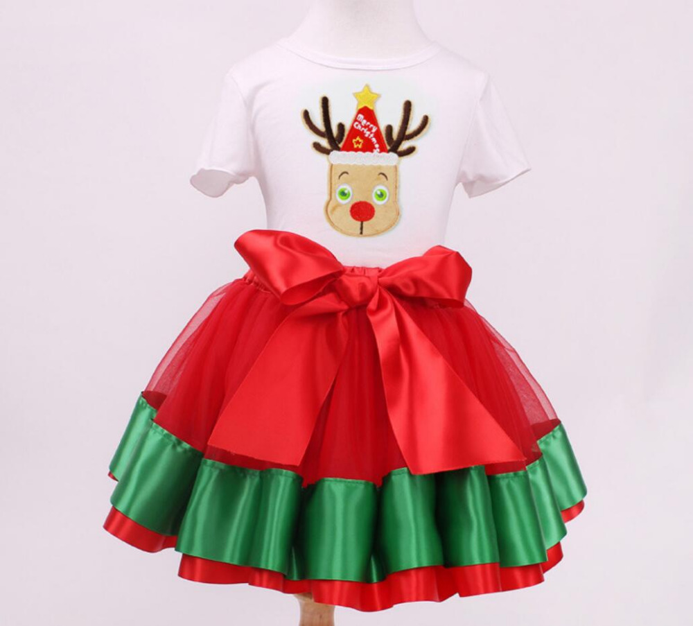 2PCs/Set Short Sleeve Christmas Outfit T-Shirt Green Width Tutu Skirt Baby Girl Little Kids New Year Party Clothes 12M-7T
