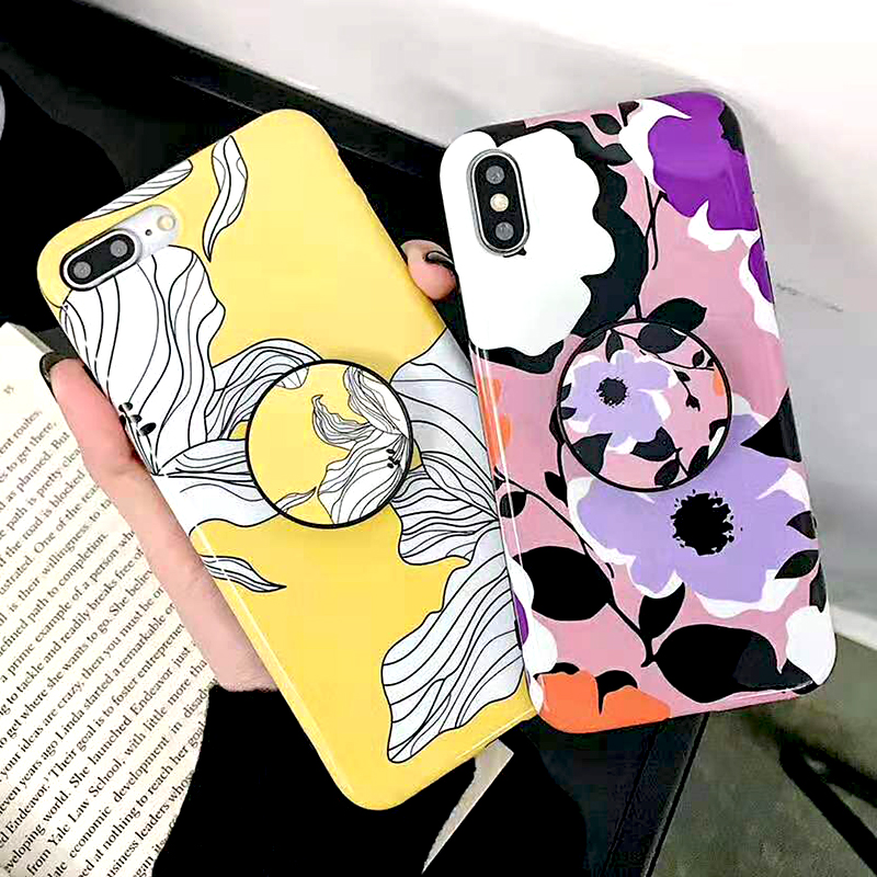 Bracket Case For iPhone XS Max XR X 8 7 6 6S 7 8 Plus Yellow Flowers Glossy Soft IMD Fashion Phone Back Cover Cases Coque Gift (4)