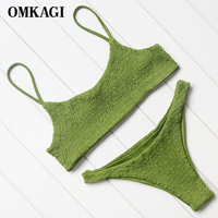 OMKAGI Brazilian Bikini 2017 Swimsuit Women Swimwear Sexy Off Shoulder Thong Bikinis Set Swimming Bathing Suit