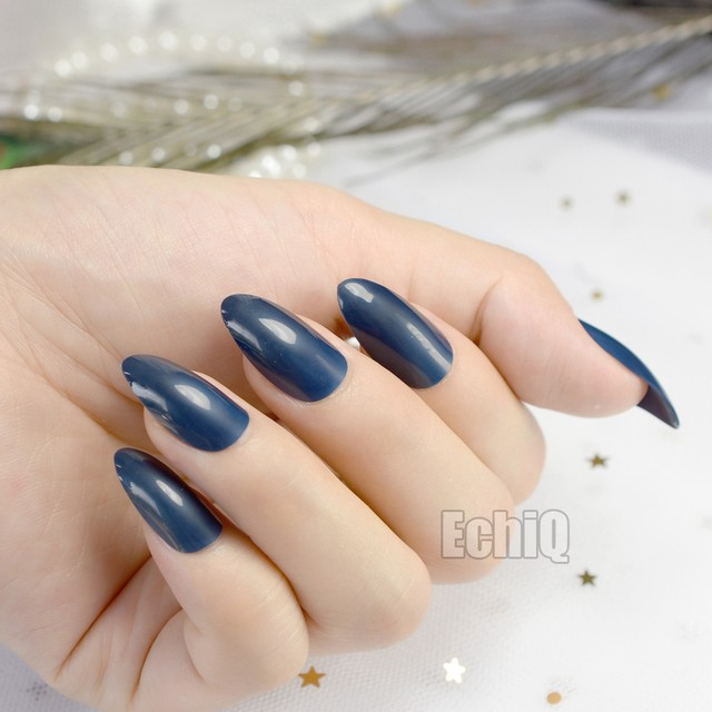 Shinning Surface Almond Design Acrylic Nails Medium Pointed Fake Nail Candy Pure Dark Blue Stiletto Artificial Faux Ongles 481P