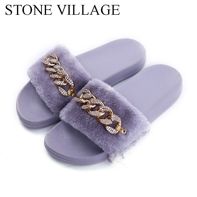 STONE VILLAGE 2019 New Women Slippers rhinestone Chain Fur Slippers Shoes solid Slip on flat Fur Fluffy Sliders shoes woman  STONE VILLAGE 2019 New Women Slippers rhinestone Chain Fur Slippers Shoes solid Slip on flat Fur Fluffy Sliders shoes woman