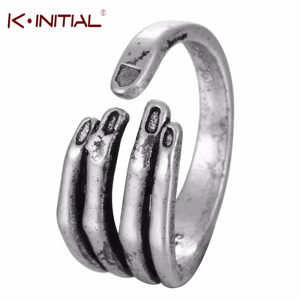 Kinitial Antique Silver Hand Finger Ring For Women Girl Jewelry Open Nail Rings Punk Midi Retro Skull Skeleton Ring Bijoux