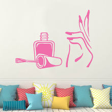 Manicure Wall Decal Vinyl Stickers Girl Hand Nail Polish Spa Beauty Salon Decor Wall Art Stickers Decals Art Mural E667(China)