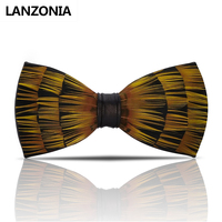 Lanzonia Feather Yellow Mens Bow Tie Handmade Trendy Novelty Bowtie Male Wedding Neckwear Different Types Of Butterfly Tie