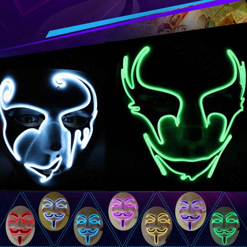 Halloween fête masque lumière LED Up fête masques la Purge élection année drôle masques rôle Cosplay Costume fournitures brillent dans le noir