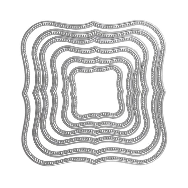 6pcs Stencils Wavy Square Frames Cutting Dies Stencils For DIY ...