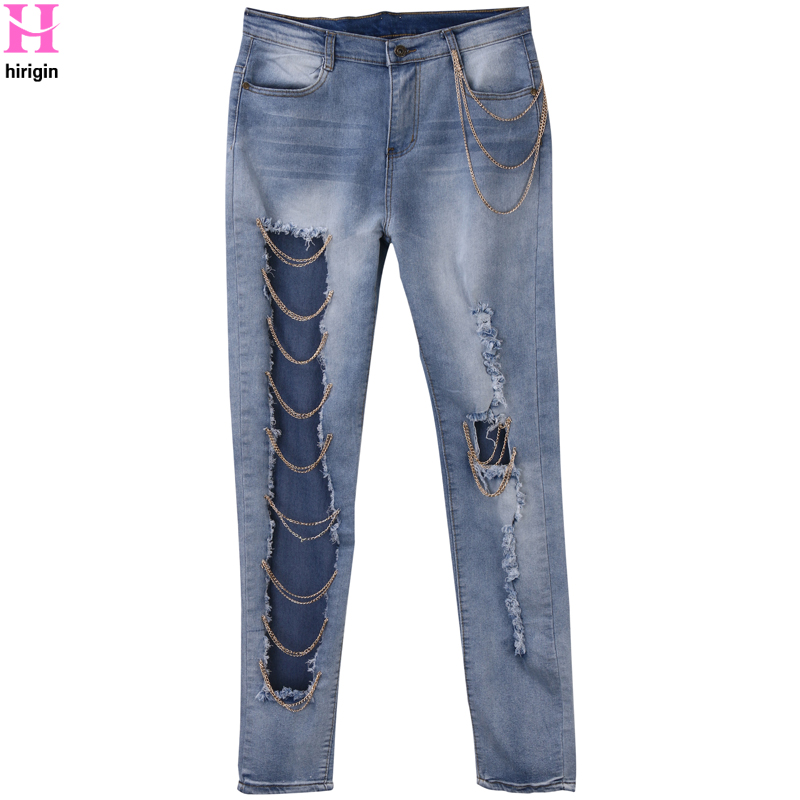 2018 Sexy Women Destroyed Ripped Jeans Boyfriend pants Cool denim vintage straight jeans for girl Mid waist casual pants female