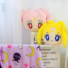 Candice guo! super cute plush toy cartoon Sailor Moon cushion pillow blanket girls birthday Christmas gift yellow pink 1pc
