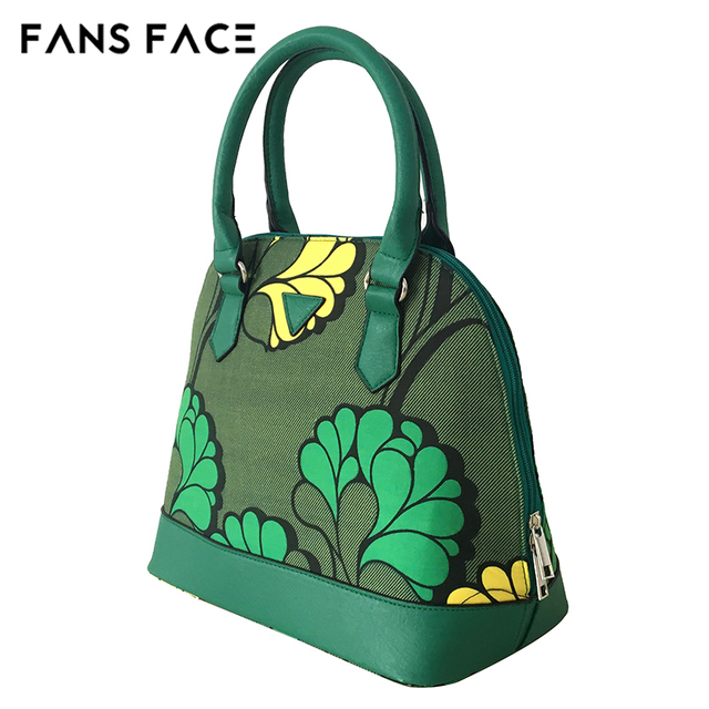 FANS FACE Fresh Summer Style Fashion African Print Green Handbag Female 2017 Luxury Handbags Women Bags Designer 30*16*41cm 3