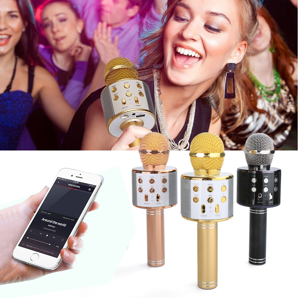 Ws 858 Ws858 Wireless Karaoke Handheld Bluetooth Microphone Usb Ktv Mic Wster Smule Player Speaker Record Music For Iphone In Microphones From Consumer