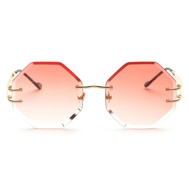 f67c7e0246 Lujo moda polígono rimless cristal sunglasses mujeres primera marca Sol  tintados lente amarillo gafas de sol
