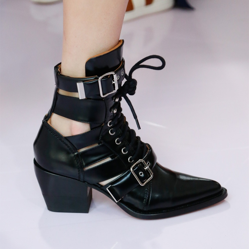 Hollow Out Pointed Toe Lace Up Belt Buckle Western Women Ankle Boots Chunky Heel Genuine Leather Cowboy Boots Women Punk Shoes