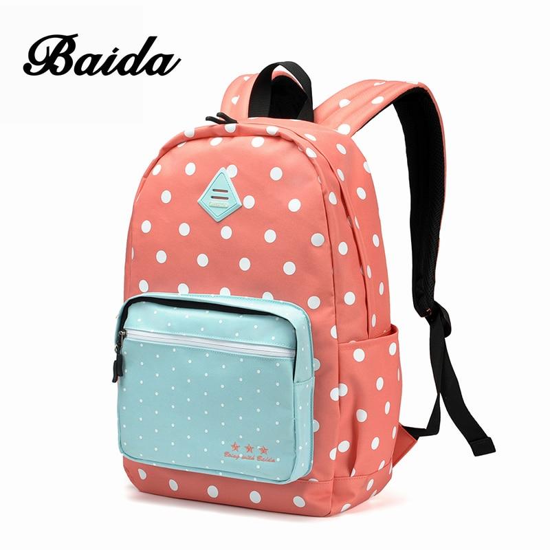BAIDA Women Backpack High Quality Pink Cute Backpacks Sweet Polka Dots Rugzak Stipjes School Bags For Teens Girls все цены