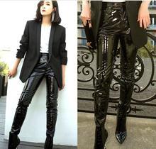 Fashion Patent leather pu pants with pocket female 2017 winter was thin high waist leisure shiny pu leather pencil pants wj1612