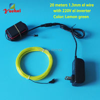 NEW 1 3mm 20Meters AC110V Lemon Green EL Wire Flexible LED Thread Neon Glowing Light For
