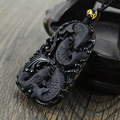 Frisado colar de pingente de obsidiana natural preto, pingente de obsidiana, preciouse semi-colar de contas de moda