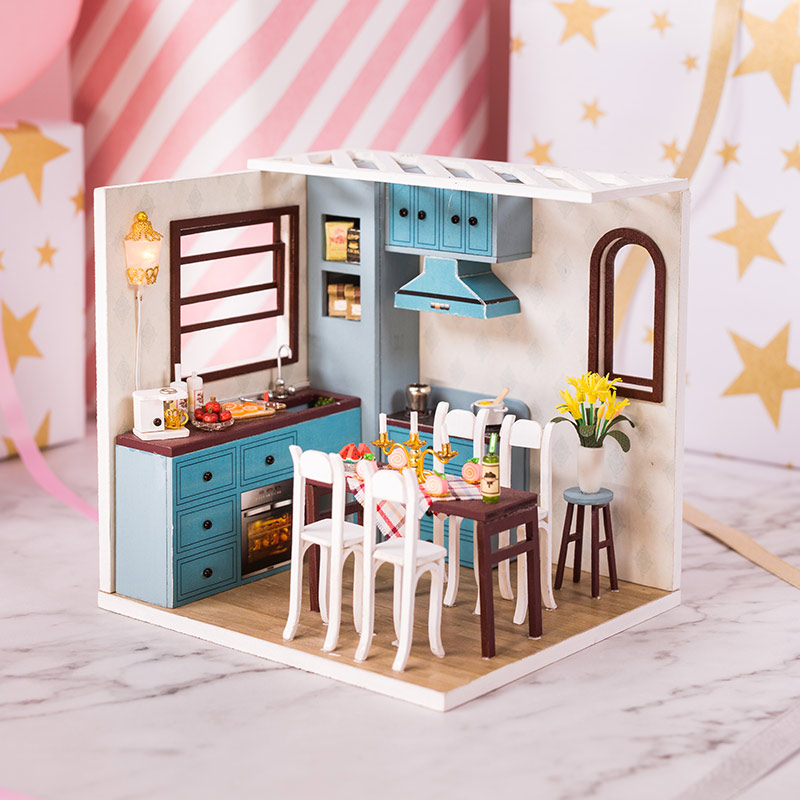 Doll House Furniture Miniature 3D Miniaturas With Furniture Jos Kitchen Dollhouse Mini House Model Building Kits Dollhouses Toys