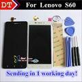 Alta calidad digitalizador de pantalla táctil + lcd de repuesto para lenovo s60 s60w teléfono móvil 5.0 pulgadas 1280*720 negro blanco regalos