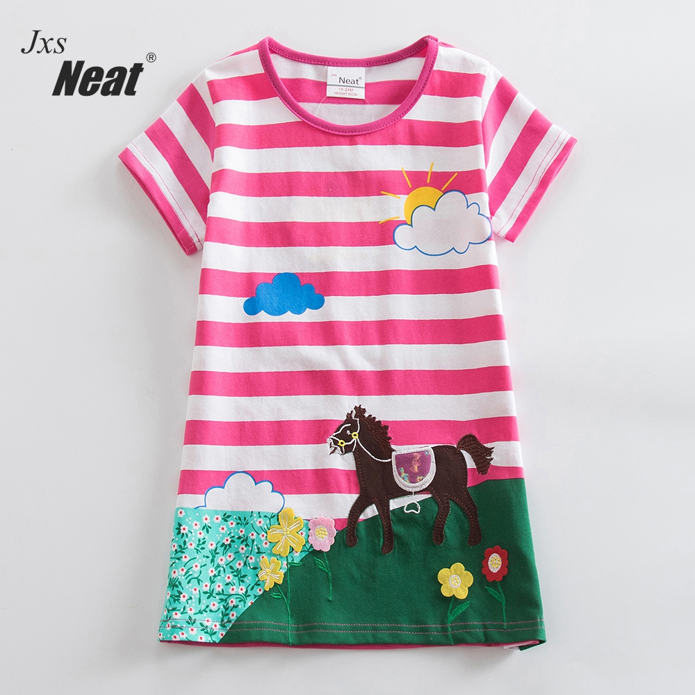 Girls short Sleeve Cotton Unicorn Dresses Kids Clothes Embroidered Spring Girl Kids Clothes Kids Dresses for Girls AS6499 2