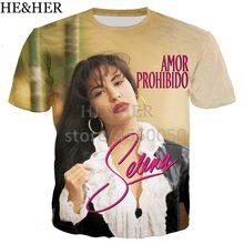 4111b4395e La Música Latina selena t camisa de los hombres mujeres 3D impreso  camisetas de manga