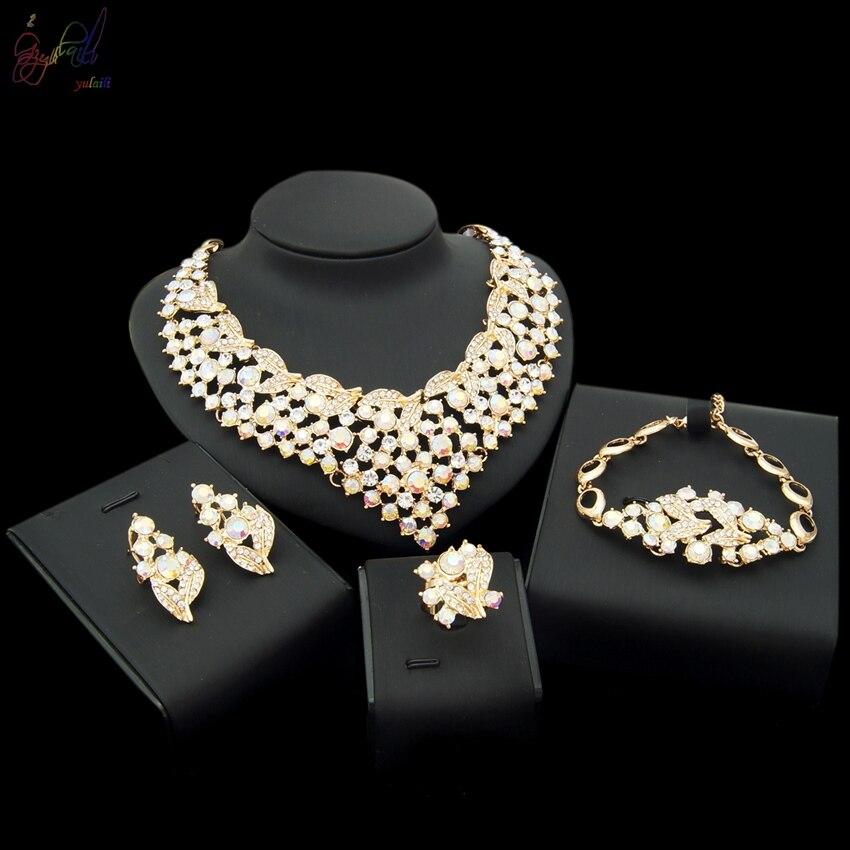 цена на YULAILI Free Shipping High Quality Dubai Gold Color Women Four Jewelry Sets