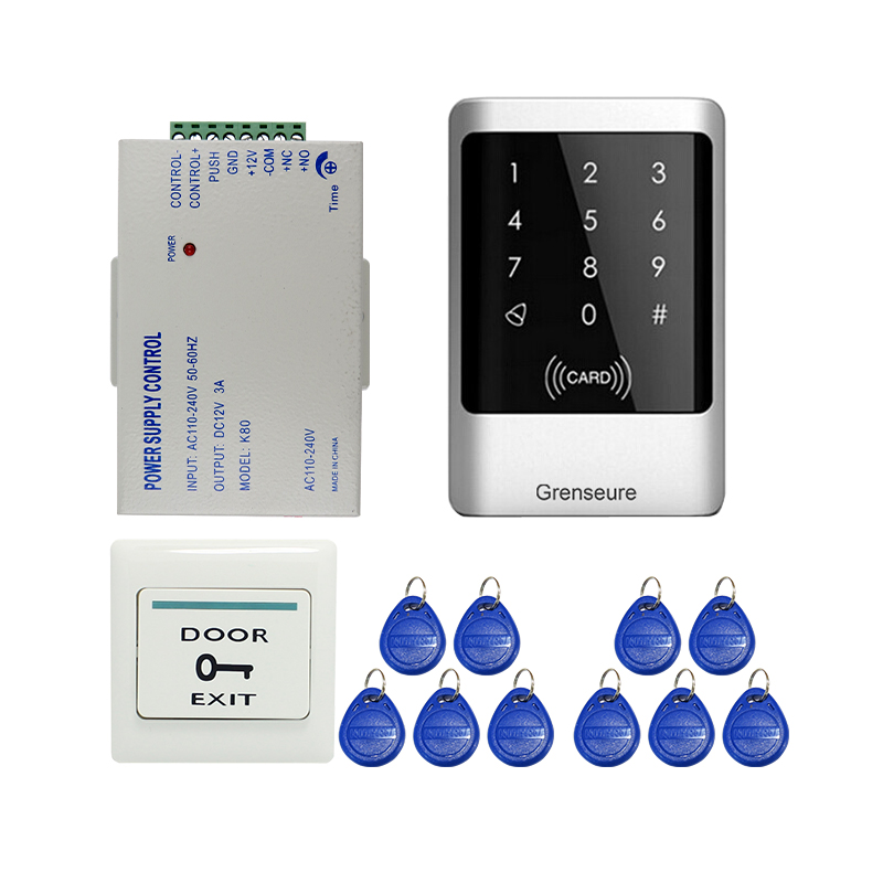 Free Shipping 125khz Metal Waterproof RFID Card Reader Keypad Door Access Control System for 12V DC Electric Lock In Stock Free wholesale new white rfid card reader code keypad door access control system electric strike door lock in stock free shipping
