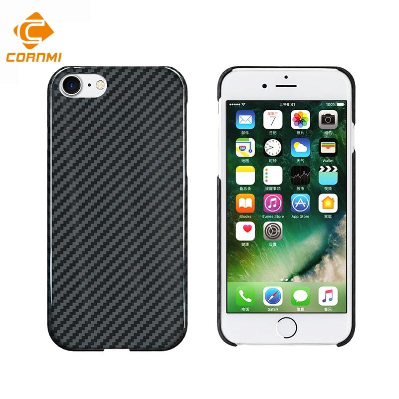 100% Real da Fibra do Carbono Caso de Telefone Para o iphone 7 Casos Tampa Traseira 4.7 polegada Ultra Fino Armadura À Prova de Choque Shell Habitação