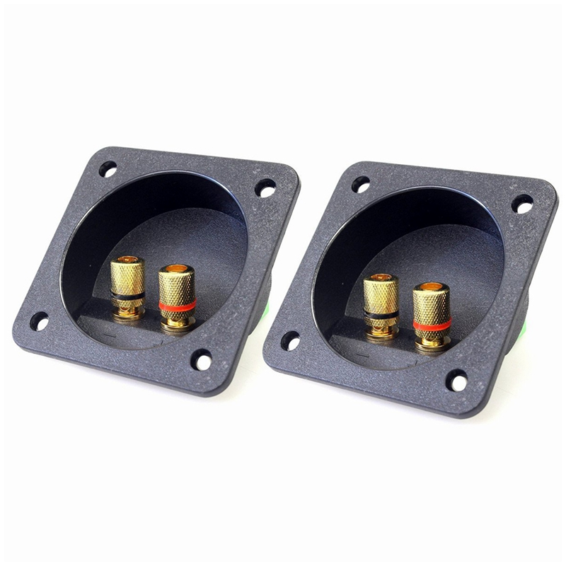 DIY Home Car Stereo Screw Cup Connectors Subwoofer Plugs 2-Way Speaker Box Terminal Binding Post, 2 Pcs Black