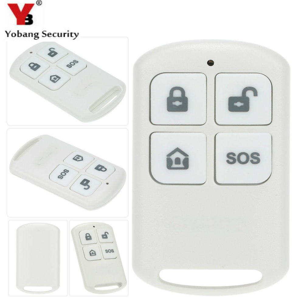 YobangSecurity 2pcs/lot 433MHz Plastic Wireless Remote Control Arm/disarm SOS Button For YB103/YB104 Home Security Alarm System 2 receivers 60 buzzers wireless restaurant buzzer caller table call calling button waiter pager system