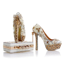 2017 Newest Design White Pearl Wedding Shoes with Matching Bag Gorgeous Handmade High Heels Women Crystal Bridal Shoes