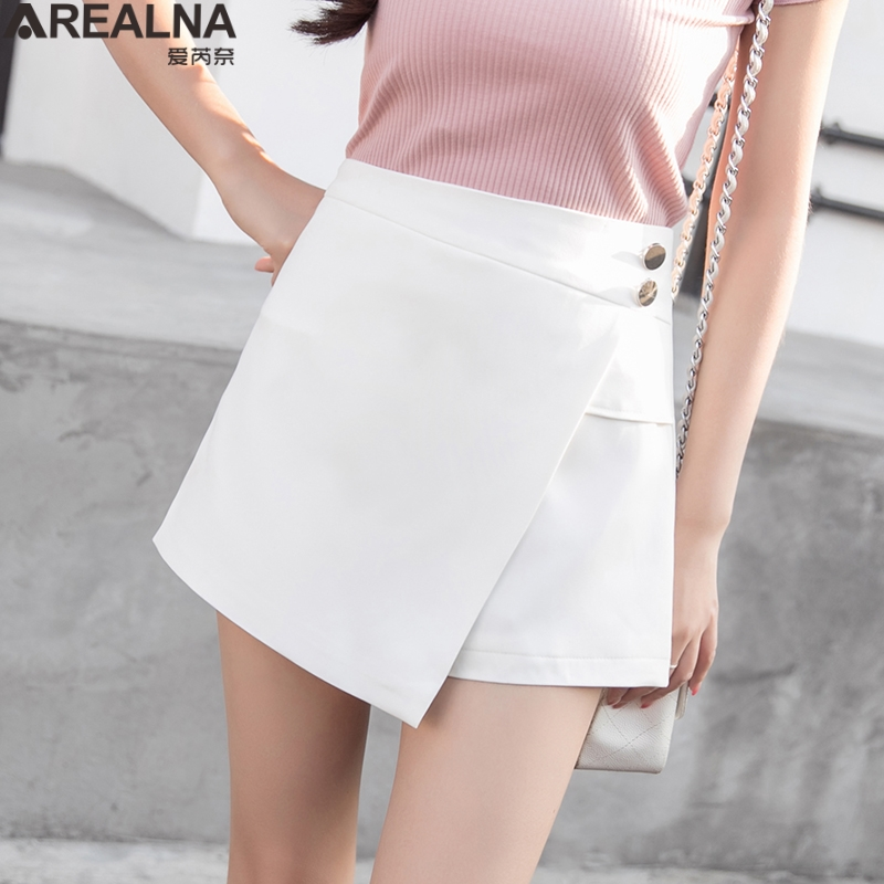 Summer   Shorts   For Women 2019 High Waist Casual Irregular Wide Leg   Short   Cotton Plus Size women's sexy white black   Shorts   Skirts