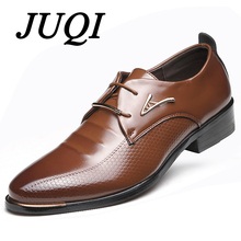 JUQI Luxury Brand PU Leather Fashion Men Business Dress Loafers Pointy Black Shoes Oxford Breathable Formal Wedding