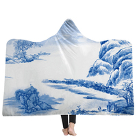 EHOMEBUY New Arrival Blanket Hooded Blankets Chinese Porcelain Ink Landscape Wearable 3D Hooded Blanket Winter Home 3D Printed