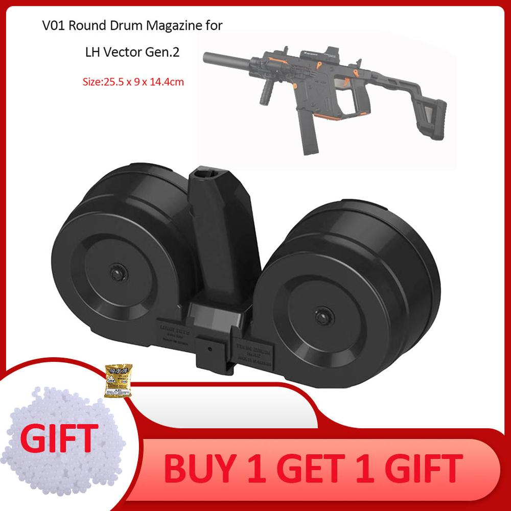 Rowsfire Large Capacity V01 Round Drum Magazine for LH Vector Gen.2 Water Gel Beads Blaster Modification - BlackRowsfire Large Capacity V01 Round Drum Magazine for LH Vector Gen.2 Water Gel Beads Blaster Modification - Black