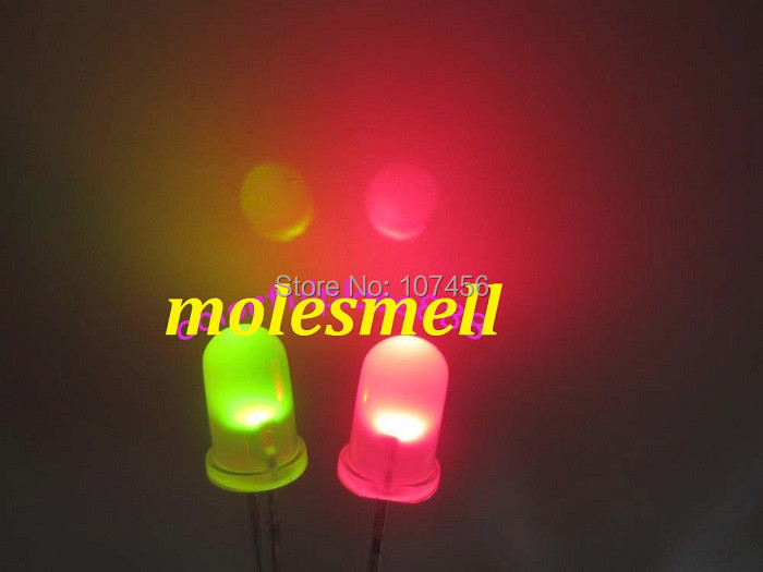 1000pcs 5mm Dual Bi Color Polar Changing Red Green Led Diffused Leds 2 Pin led