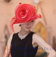 Darmowa wysyłka moda kobiety kapelusz słomkowy kapelusz tkaniny organzy organza tkaniny duży czerwony kwiat kapelusz fantazyjne dziewczyna kapelusz fedora new arrival