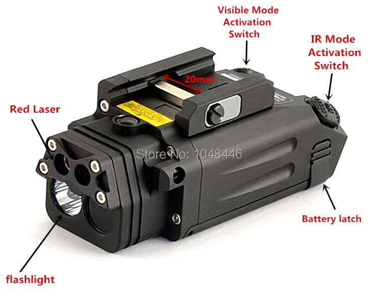 Prix pour Hunterking DBAL-PL type lumière blanc LED 400 Lumens lampe de Poche Avec Laser Rouge IR LED illuminateur/visible laser pointeur