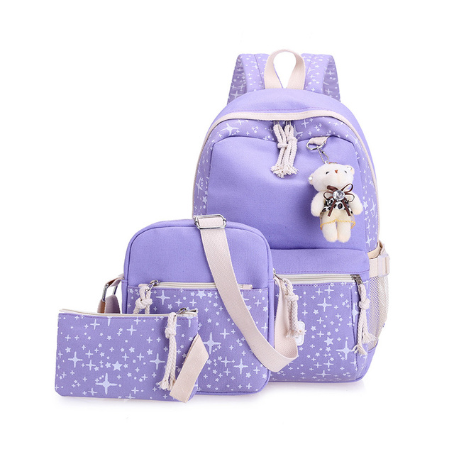 Casual Women Backpacks Canvas Book Bags Preppy Style School Back Bags for Teenage Girls 4