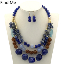 Find Me 2018 new Trendy multilayer long chain collar choker necklace vintage big bead statement necklace women Jewelry wholesale